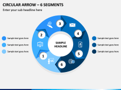 Circular Arrow - 6 Segments PPT Slide 1