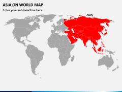 Asia on World Map PPT Slide 1