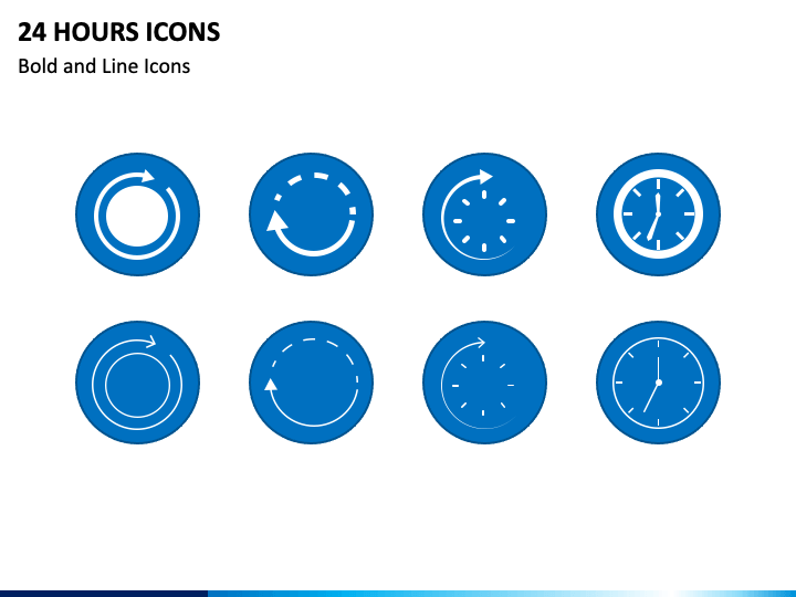 24 Hours Icons PPT Slide 1