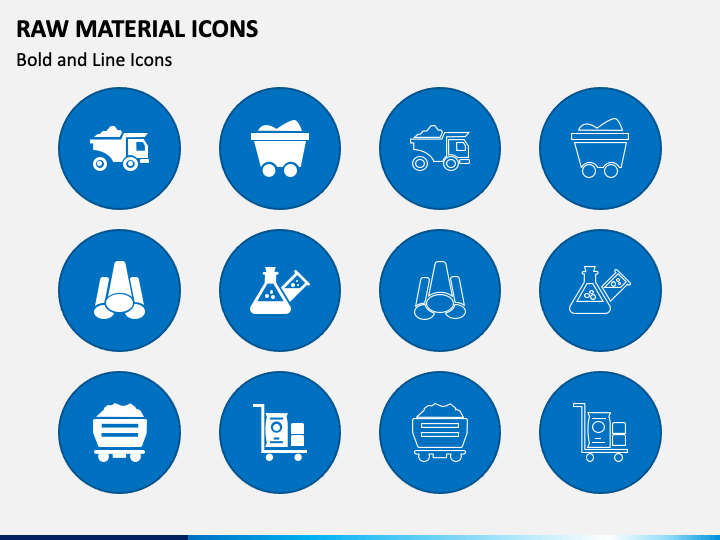 Raw Material Icons PPT Slide 1