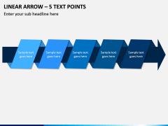 Linear Arrow - 5 Text Points PPT Slide 1