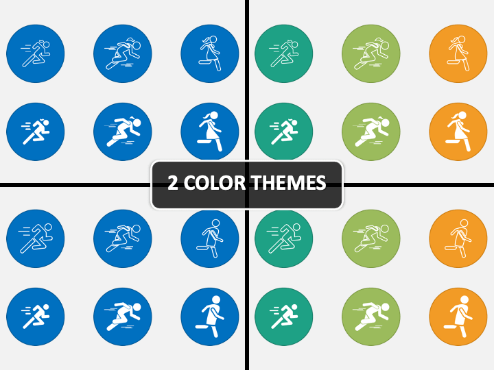 Person Running Icons PPT Cover Slide