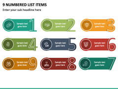 9 Numbered List Items - Free PPT Slide 2