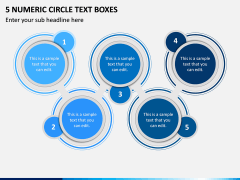 5 Numeric Circle Text Boxes PPT Slide 1