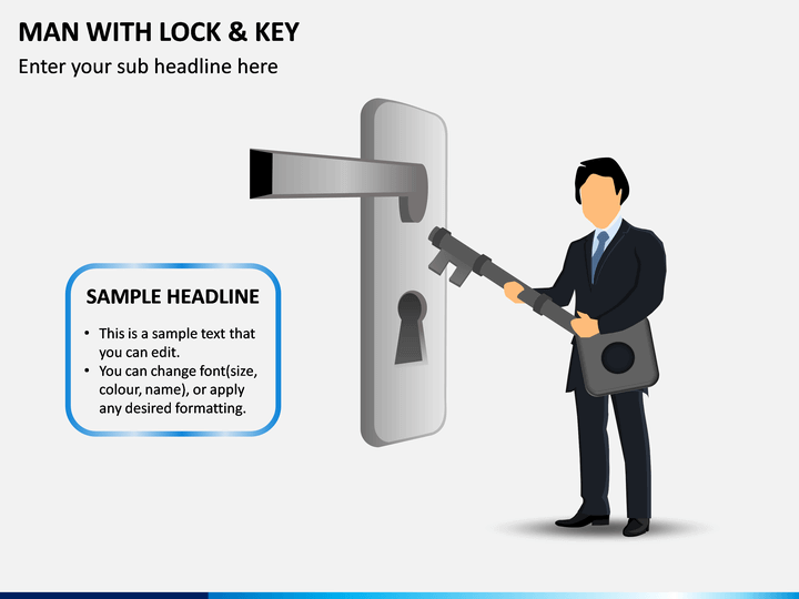 Man With Lock & Key PPT Slide 1