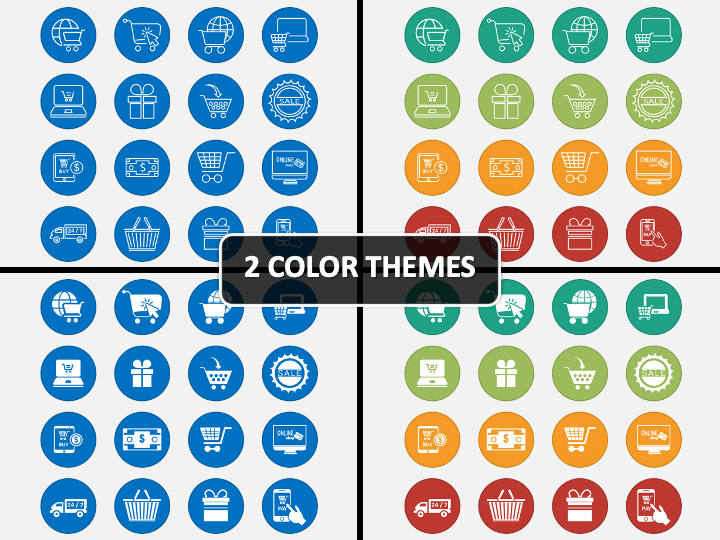 Ecommerce Icons PPT Cover Slide