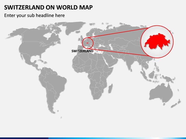 Switzerland on World Map PPT Slide 1