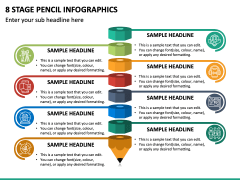 8 Stage Pencil Infographics - Free PPT Slide 2