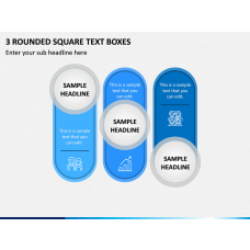3 Rounded Square Text Boxes PPT Slide 1