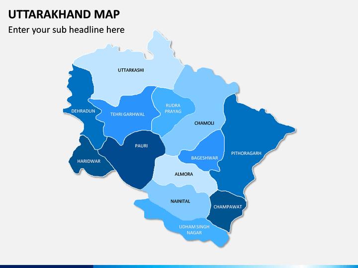 Uttarakhand Map PPT Slide 1