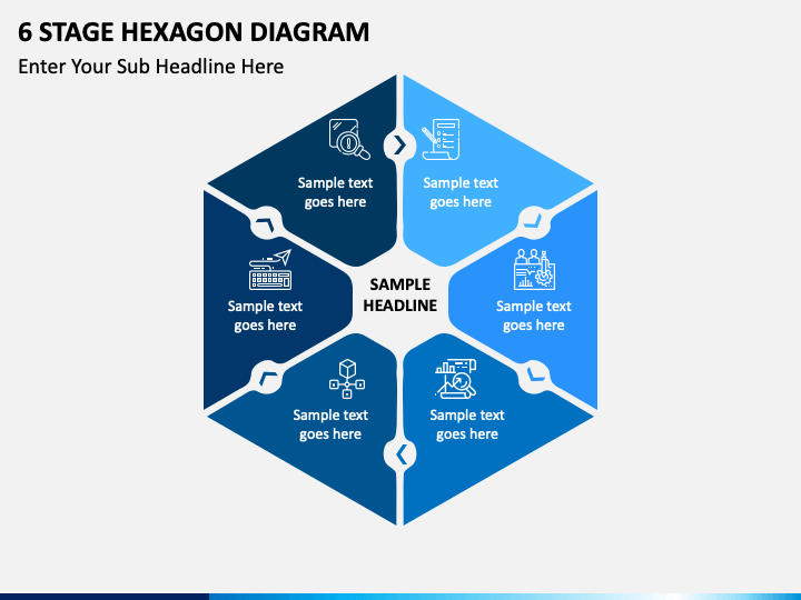 6 stage hexagon free PPT slide 1
