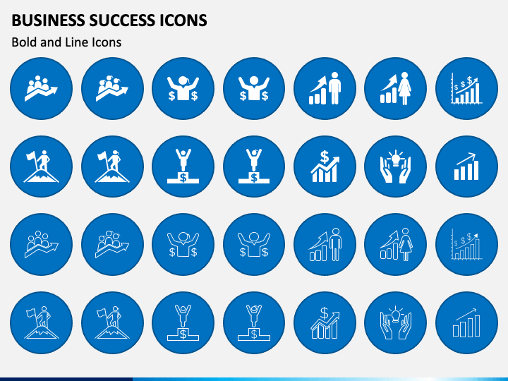 Busniess Success Icons PPT Slide 1