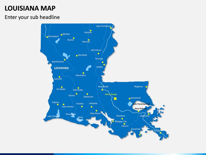 Louisiana Map PPT Slide 1