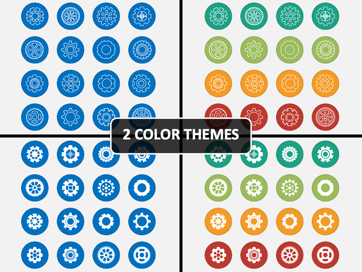 Cog Wheel Icons PPT Cover Slide
