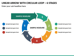 Linear Arrow With Circular Loop - 6 Stages PPT Slide 2