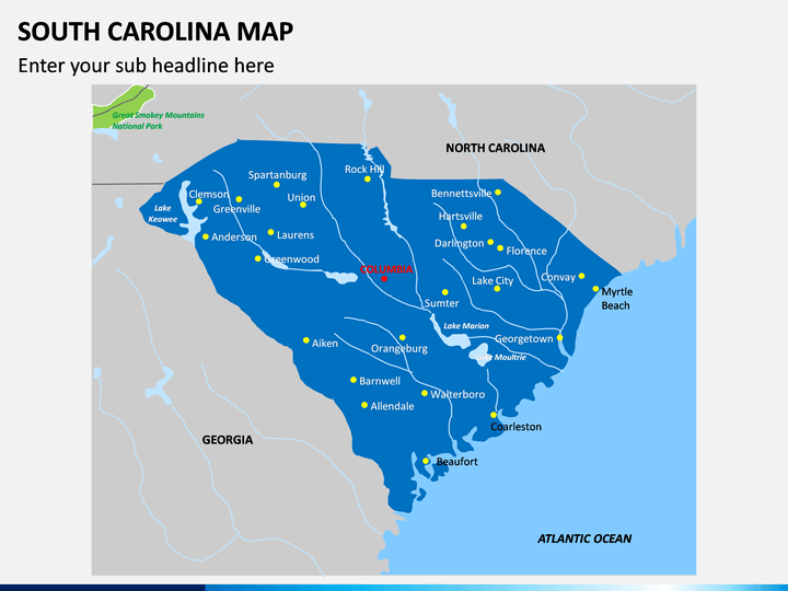 South Carolina Map PPT Slide 1