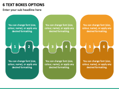 6 Text Boxes Options PPT Slide 2