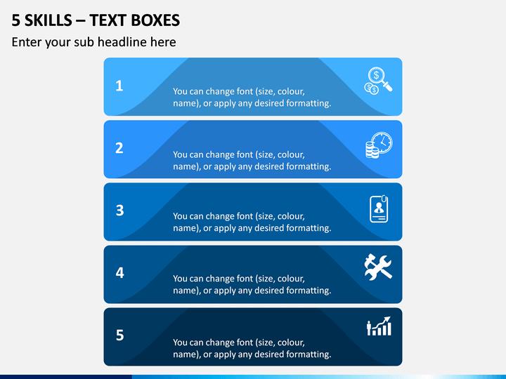 5 Skills - Text Boxes PPT Slide 1