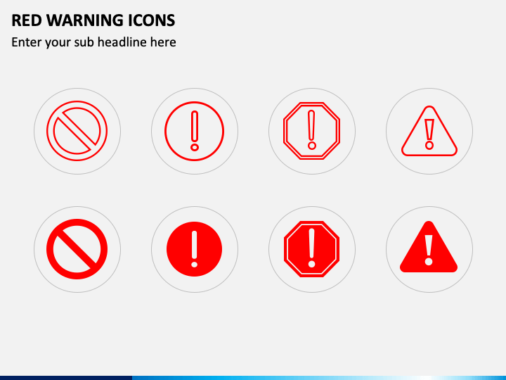 Red Warning Icons PPT Slide