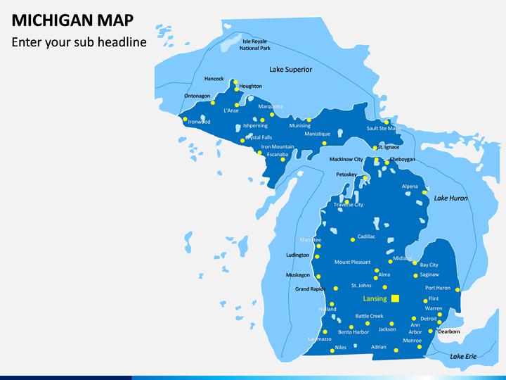 Michigan Map PPT Slide 1