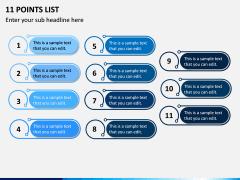 11 Points List PPT Slide 1