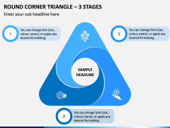 Round Corner Triangle - 3 Stages PPT Slide 1
