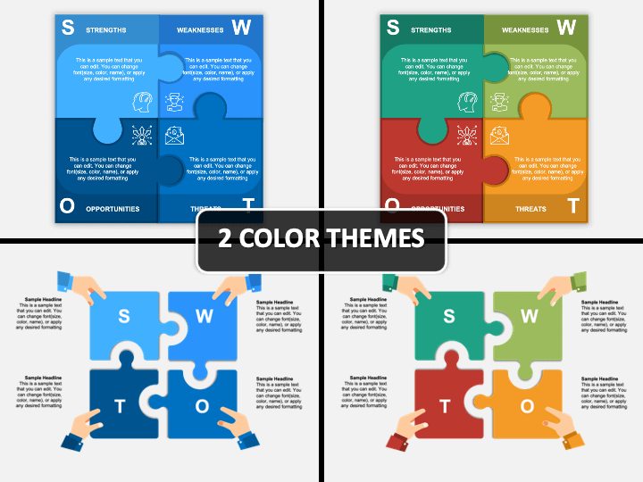 SWOT Puzzle PPT Cover Slide