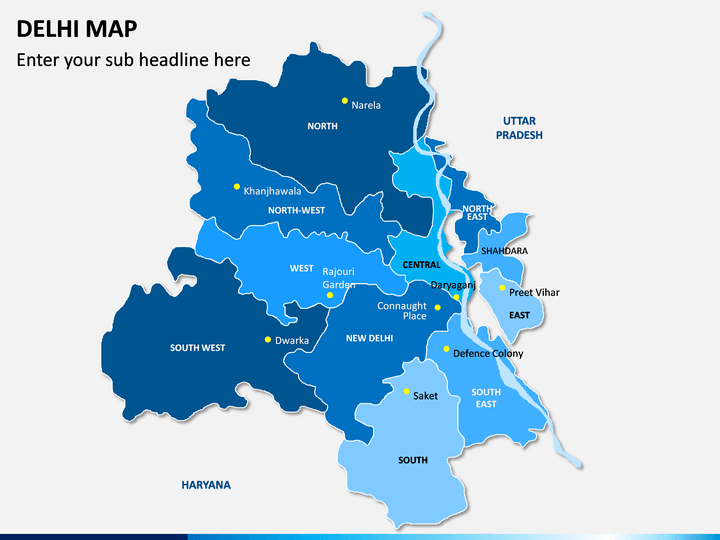 Delhi Map PPT Slide 1