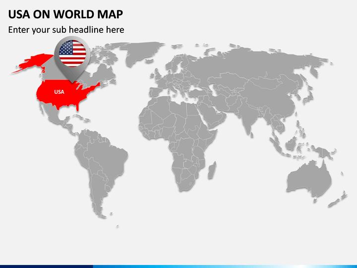 USA on World Map PPT Slide 1