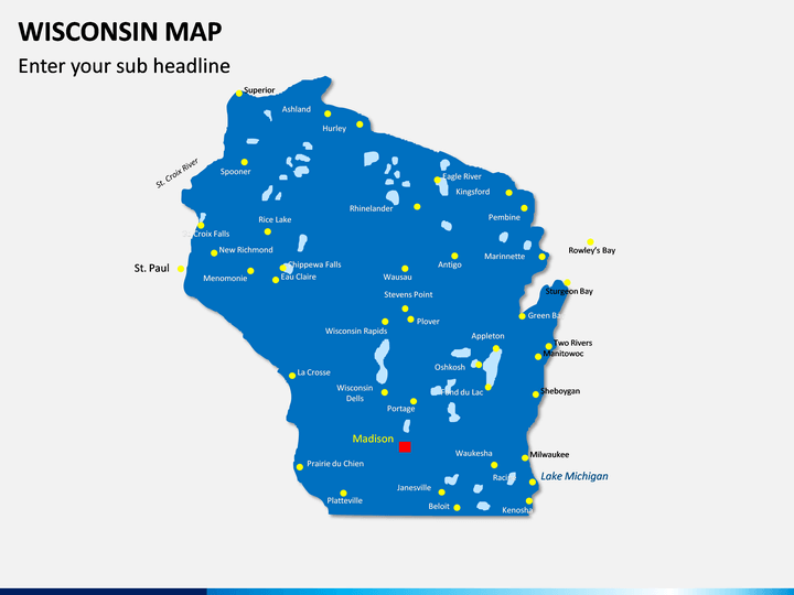 Wisconsin Map PPT Slide 1