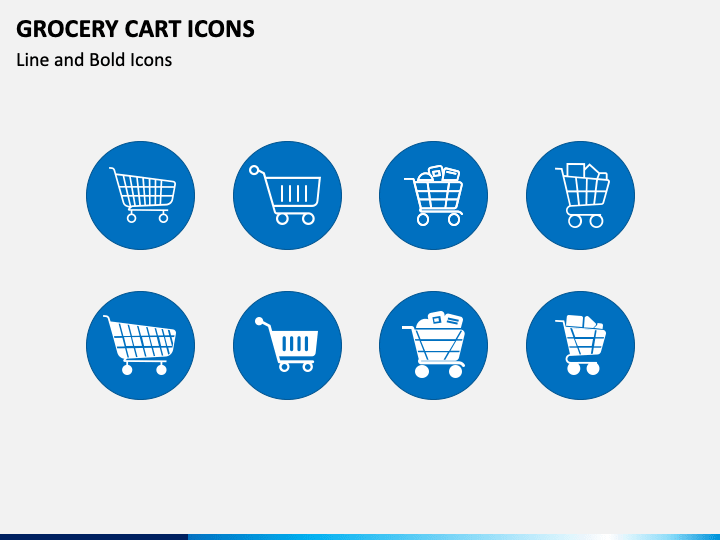 Grocery Cart Icons PPT Slide 1