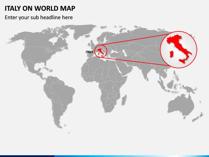 Italy on World Map PPT Slide 1