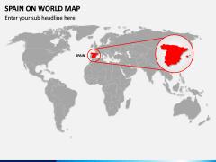 Spain on World Map PPT Slide 1