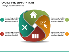 Overlapping Shape - 4 Parts PPT Slide 2