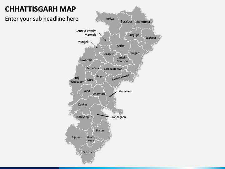 Chhattisgarh Map PPT Slide 1