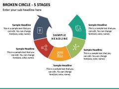 Broken Circle - 5 Stages PPT Slide 2