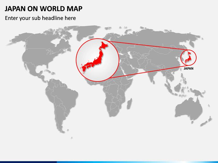Japan on World Map PPT Slide 1