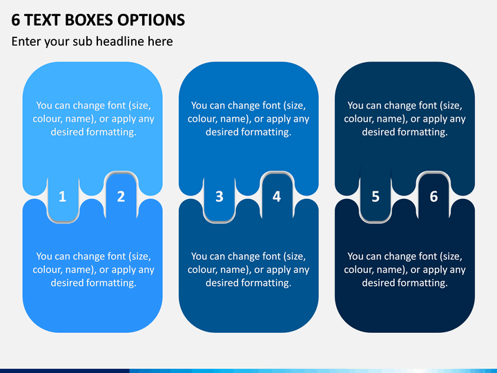 6 Text Boxes Options PPT Slide 1