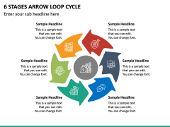 6 Stages Arrow Loop Cycle PPT Slide 2