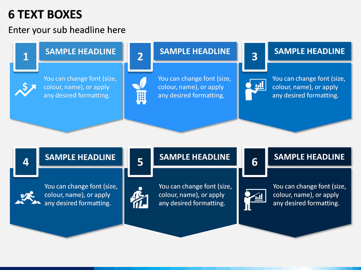 6 Text Boxes PPT Slide 1