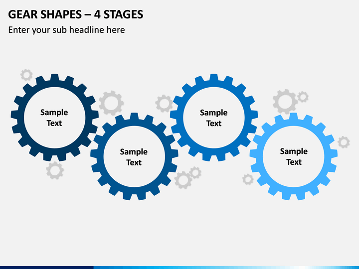 Gear Shapes – 4 Stages PPT Slide 1