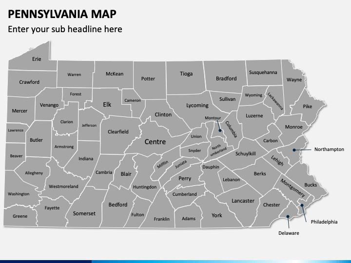 Pennsylvania Map PPT Slide 1