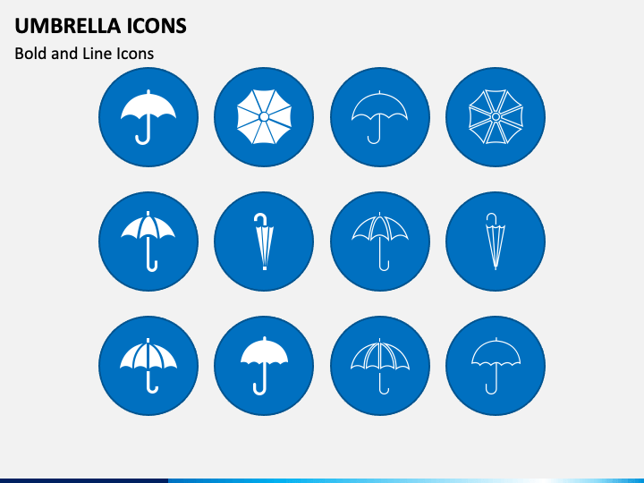Umbrella Icons PPT Slide 1