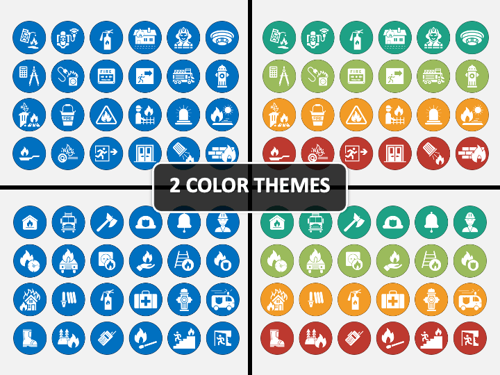 Fire Safety Icons PPT Cover Slide