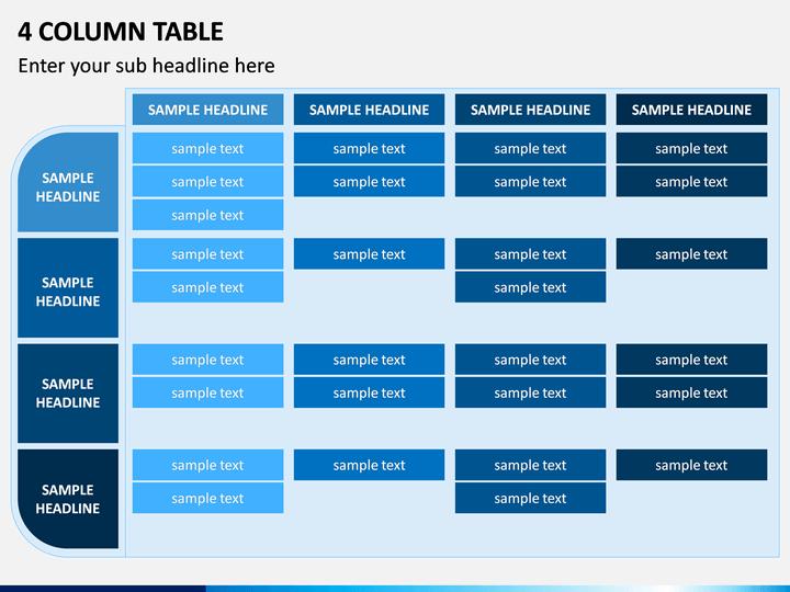 4 Column Table PPT Slide 1
