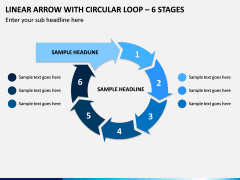 Linear Arrow With Circular Loop - 6 Stages PPT Slide 1