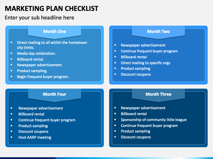 Marketing Plan Checklist PPT Slide 1