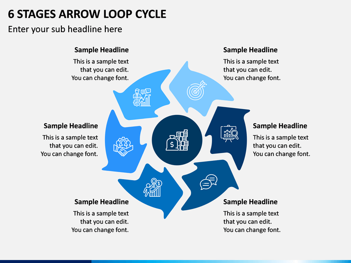 6 Stages Arrow Loop Cycle PPT Slide 1