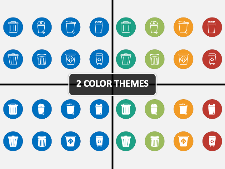 Trash Bin Icons PPT Cover Slide