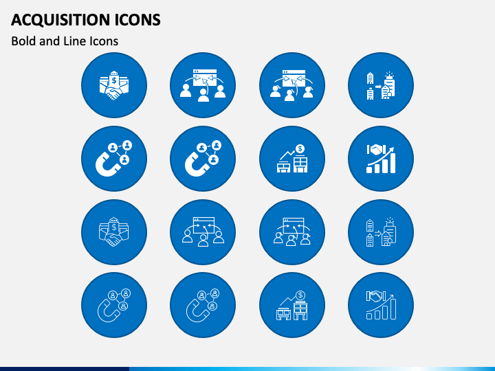 Acquisition Icons PPT Slide 1